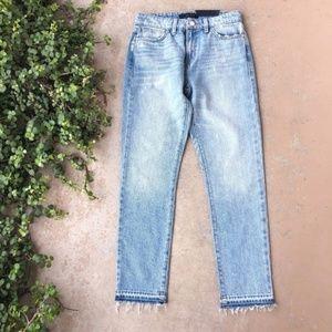 Sanctuary Denim Frayed Cropped Light Wash Jeans